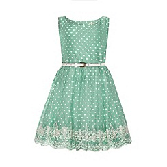 Yumi Girl - Floral embroidery hem polka dot print dress