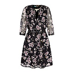 Yumi - Black eastern floral print kaftan dress