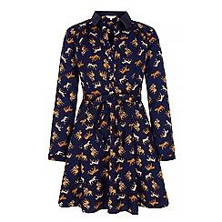 Yumi - Blue wild cat print shirt dress