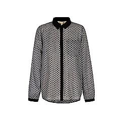 Yumi - Black monochrome geo print shirt