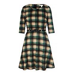Yumi - Green Check Print Skater Dress