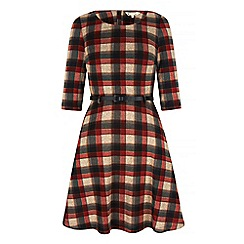 Yumi - Red Check Print Skater Dress