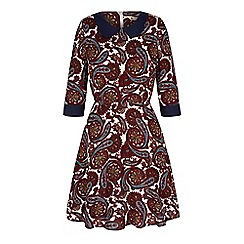Yumi - Red paisley print collar dress