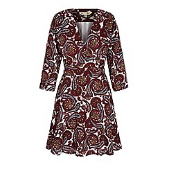 Yumi - Red arrow print wrap dress