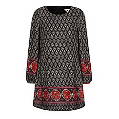 Yumi - Black tapestry print tunic dress