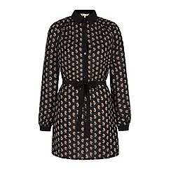 Yumi - Black daisy print shirt dress