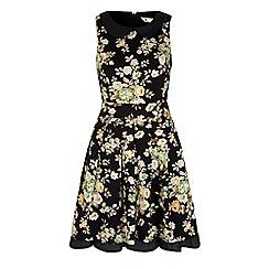 Yumi - Black vintage floral print collar dress