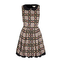Yumi - Multicoloured mirror tapestry print collar dress