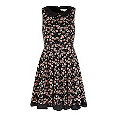Yumi - Black rose print collar dress