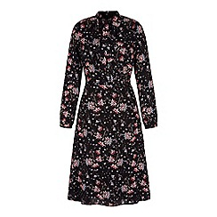 Yumi - Black retro floral midi shirt dress