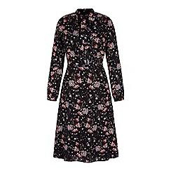 Yumi - Black retro floral midi shirt dress