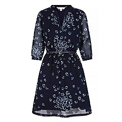 Yumi - Blue geo print long sleeve shift dress