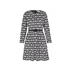 Yumi - Blue geo print long sleeve shift dress