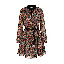 Yumi - Multicoloured  floral motif print collar dress