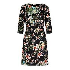 Yumi - Black tropical print shift dress