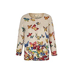 Yumi - Cream butterfly print cardigan