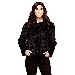 Yumi - Black animal print faux fur jacket