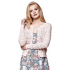 Yumi - Pink pointelle knitted cardigan