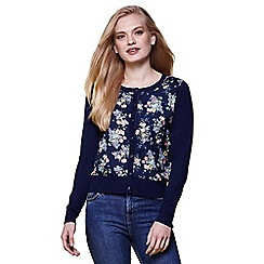 Yumi - Blue floral knitted cardigan