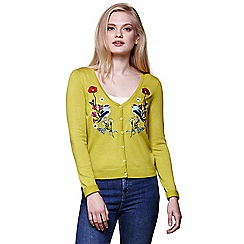 Yumi - Green floral bird embroidered knitted cardigan
