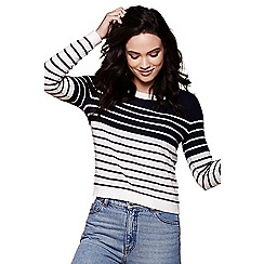Yumi - Blue stripe button detail jumper
