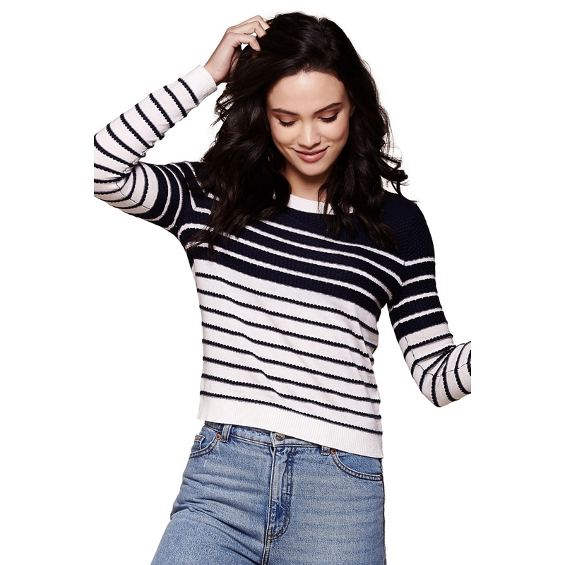 Yumi Blue stripe button detail jumper