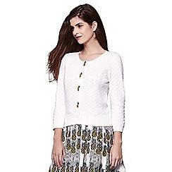 Yumi - Ivory embellished pineapple knitted cardigan