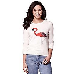 Yumi - Ivory flamingo knit jumper