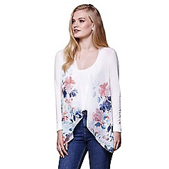 Yumi - Ivory floral waterfall knitted cardigan
