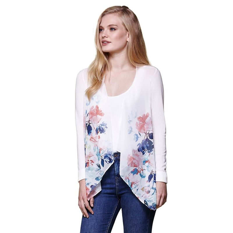Yumi Ivory floral waterfall knitted cardigan