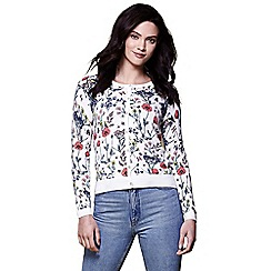 Yumi - Ivory floral knitted cardigan