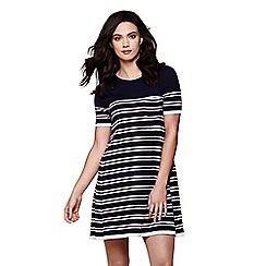 Yumi - Blue stripe knit swing dress