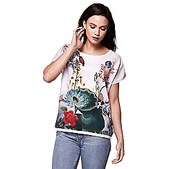 Yumi - Ivory floral short sleeve top