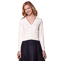 Yumi - Ivory floral embroidered knitted cardigan