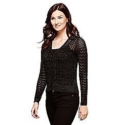 Yumi - Black knitted pointelle cardigan