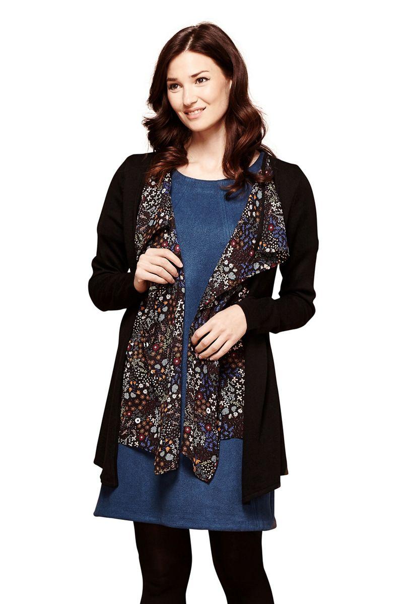 Yumi Black woven waterfall floral cardigan