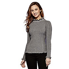 Yumi - Grey ruffle polo neck jumper