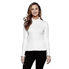 Yumi - Ivory ruffle polo neck jumper