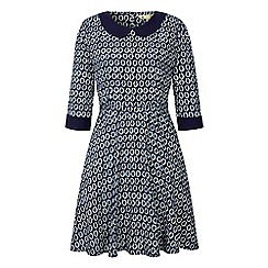 Yumi - Blue Geo Print Collar Dress
