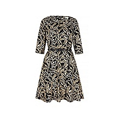 Yumi - Black monochrome leaf print dress