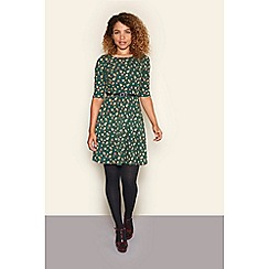 Yumi - Green floral and polka dot print skater dress