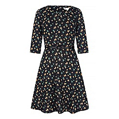 Yumi - Blue floral and polka dot print skater dress