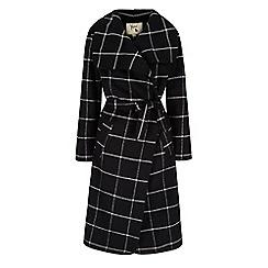 Yumi - Black check print wrap coat