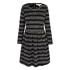 Yumi - Grey knitted stripe jumper dress
