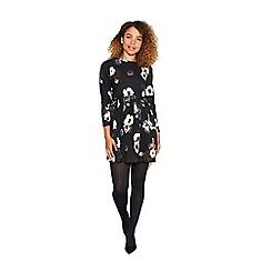 Yumi - Black long sleeve floral print dress