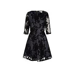 Yumi - Black net lace skater dress