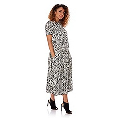 Yumi - Black geo print button through midi skirt