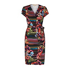 Yumi - Multicoloured  stripe floral print wrap dress
