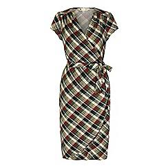 Yumi - Green check print wrap dress