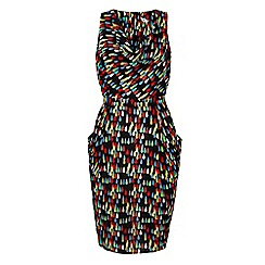 Yumi - Multicoloured Tear Drop Print Cowl Dress